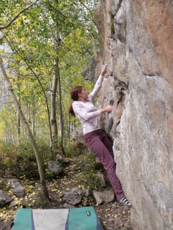 Erin Bryant bouldering in Colorado